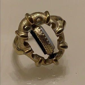 🌓onyx/Opal  vintage flip ring